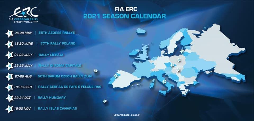 FIA ERC 2021 versenynaptar